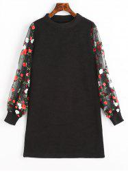 Mesh Panel Floral Mini Knit Dress -