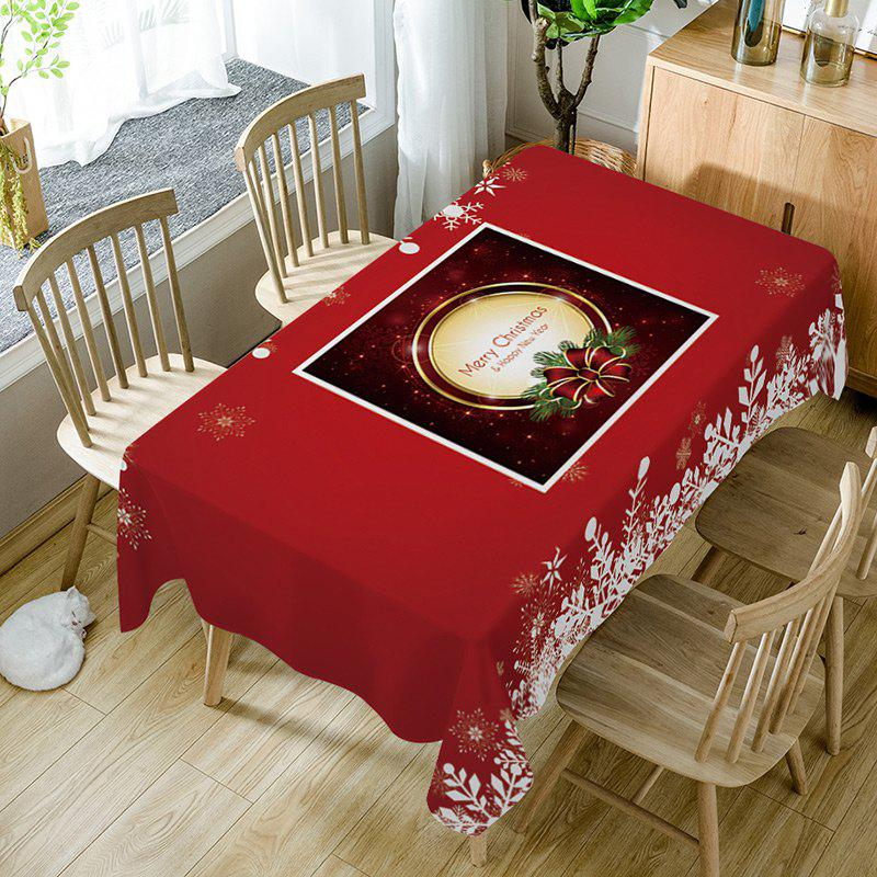 Outfits Merry Christmas Bowknot Print Fabric Waterproof Table Cloth