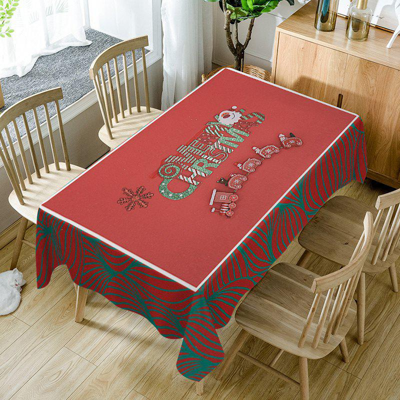 Outfits Merry Christmas Train Print Fabric Waterproof Table Cloth