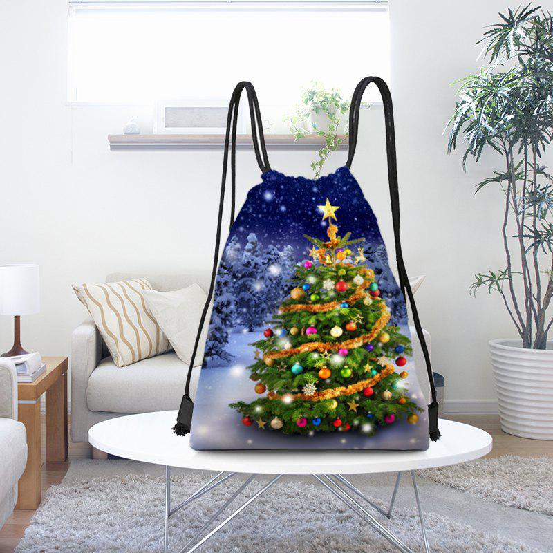 Unique Snowy Christmas Tree Pattern Candy Drawstring Storage Backpack