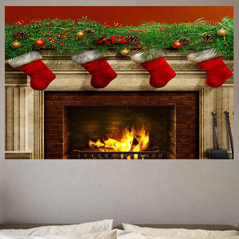 2019 christmas burning fireplace patterned wall sticker | rosegal