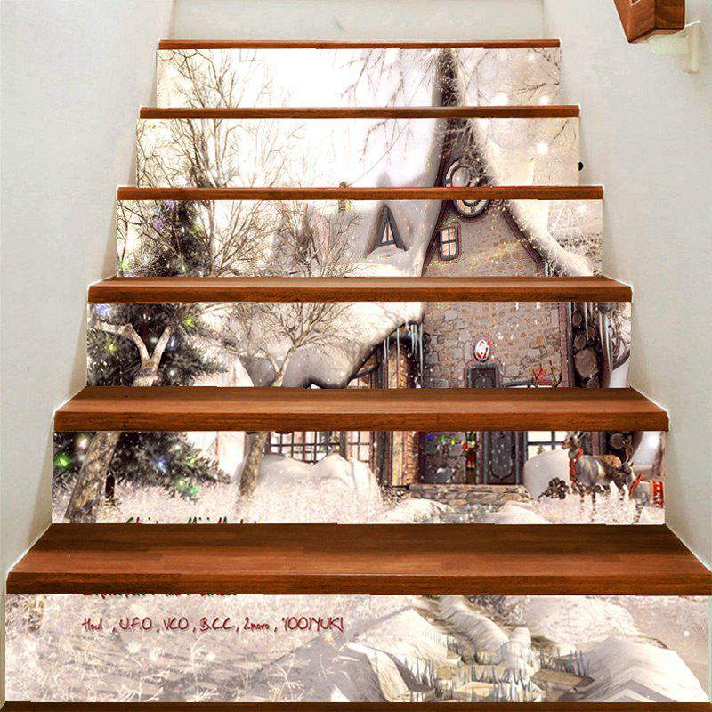 Store Christmas Snow View Pattern Decorative Stair Decal 6PCS