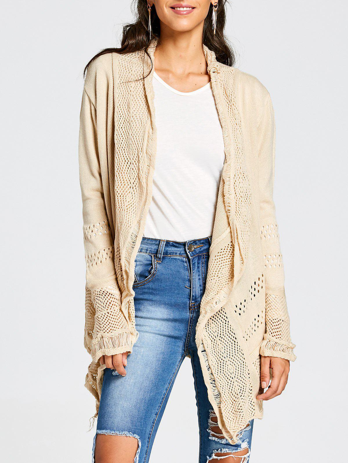 Online Simple Style Collarless Hollow Out Solid Color Irregular Cardigan For Women