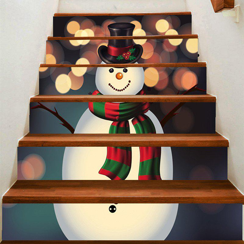 Sale Spot Light Background Snowman Pattern Stair Stickers