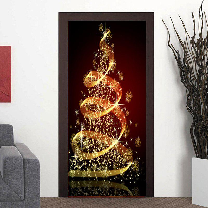 outfits sparkling christmas tree pattern door art stickers