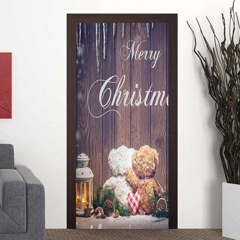 Fancy Christmas Bear Wood Grain 3D Door Decor Stickers