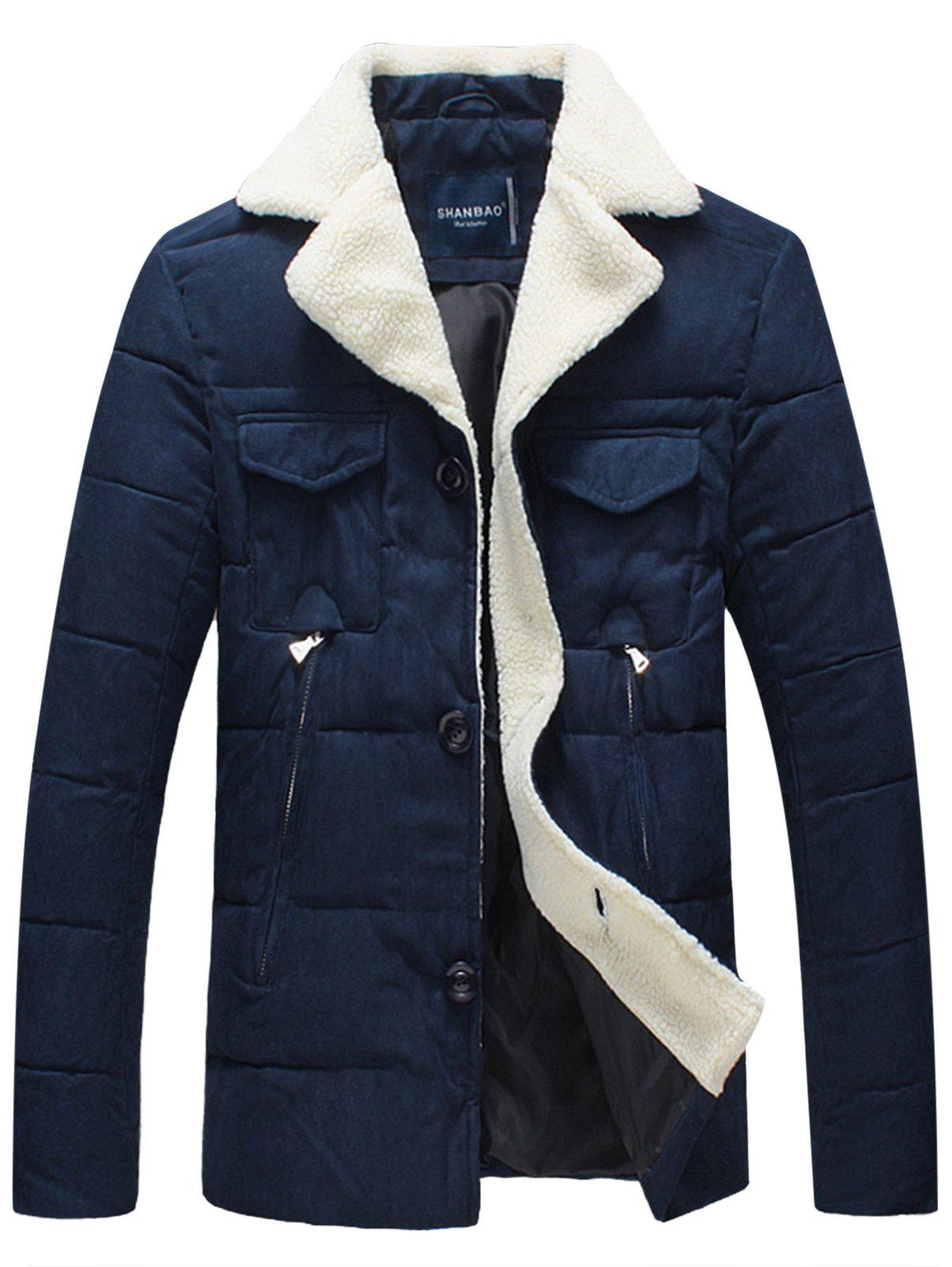 Shop Faux Fur Collar Padded Button Up Jacket