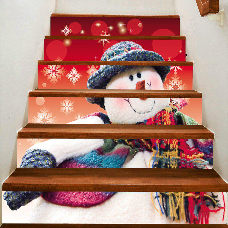 Fashion Snowman with Scarf Hat Patterned Stair Stickers