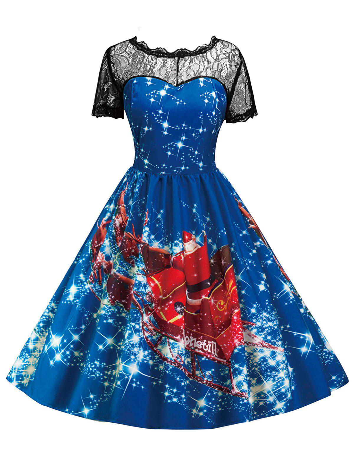 Discount Vintage Christmas Lace Insert Printed Pin Up Dress