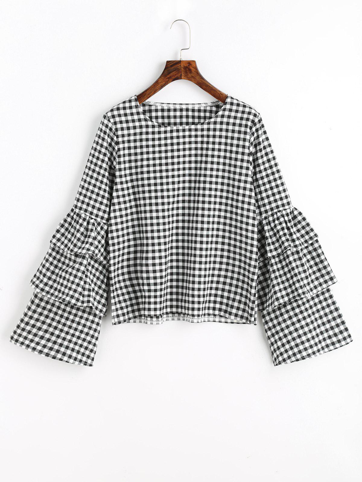 Sale Layered Flare Sleeve Checked Blouse