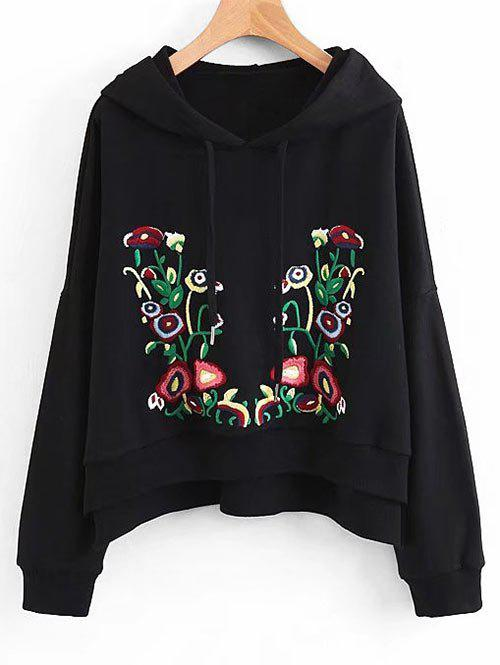 Sale Floral Embroidered Side Slit Oversized Hoodie