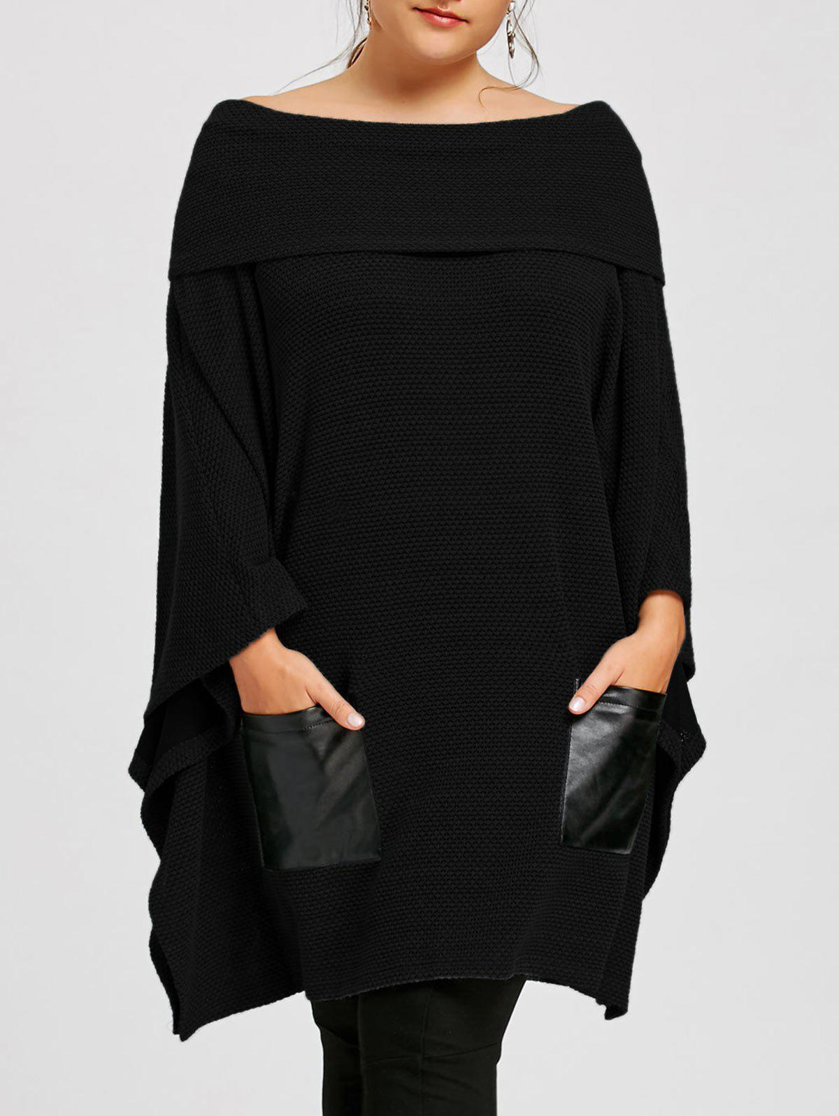 Latest Plus Size Off The Shoulder Batwing Sleeve Top