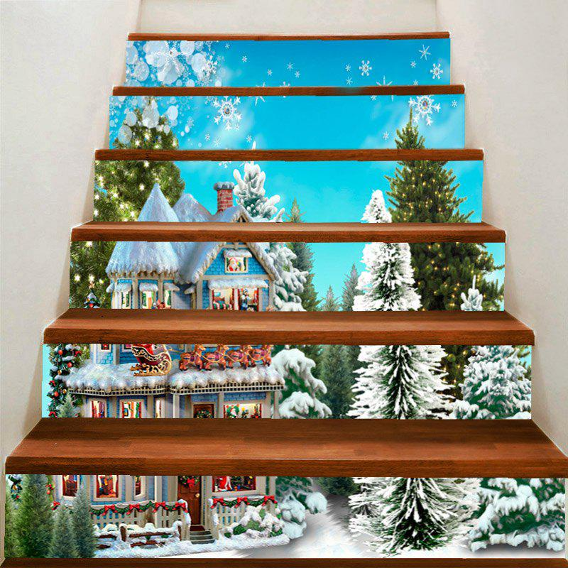Unique Christmas Forest Cottage Printed Stair Stickers