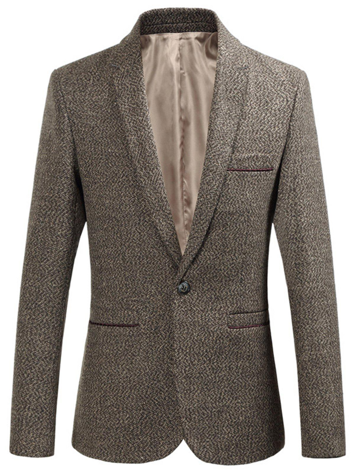 Fancy One Button Edging Woolen Blazer