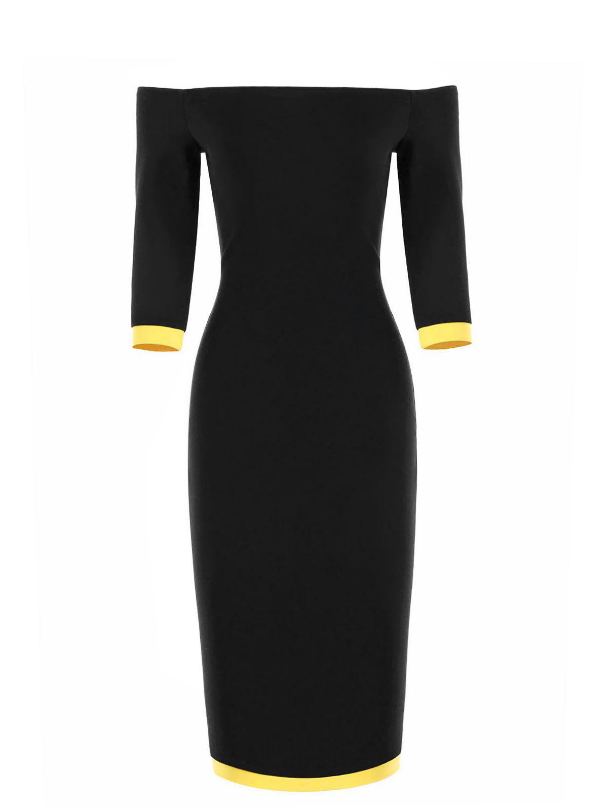 Online Two Tone Off The Shoulder Bodycon Dress