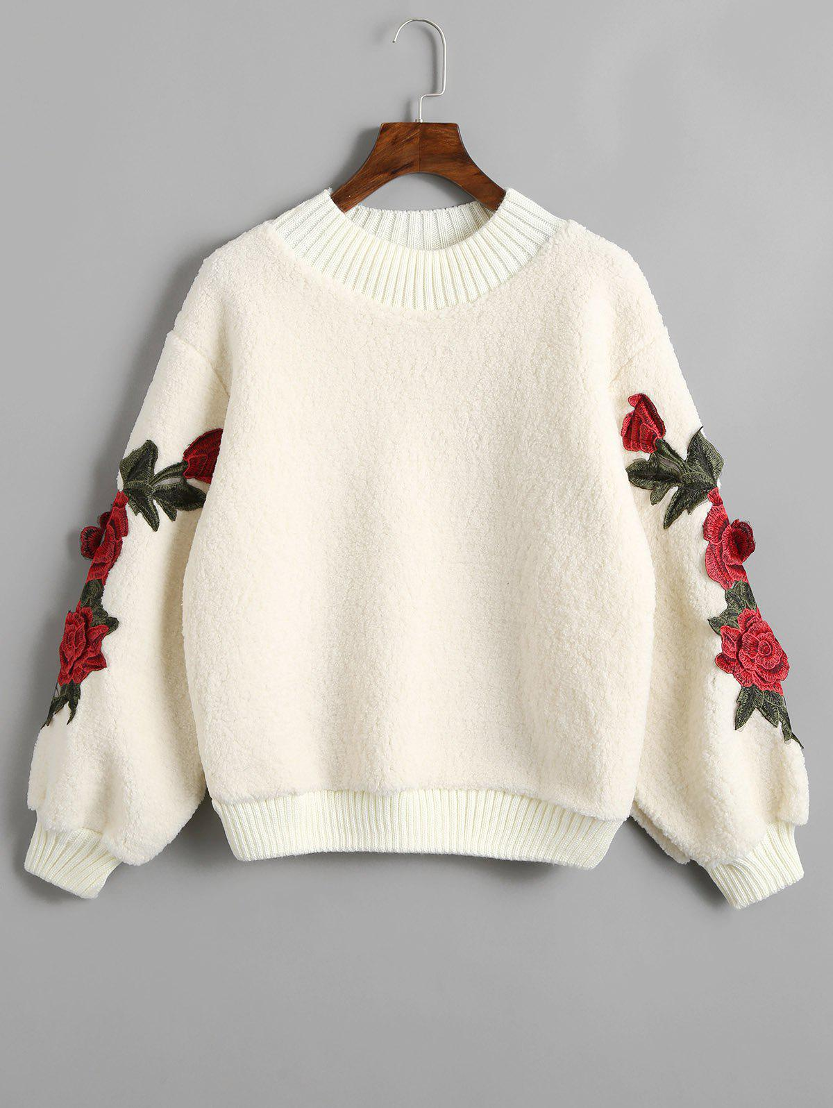 Trendy Flower Appliques Ribbed Hem Shearling Sweatshirt