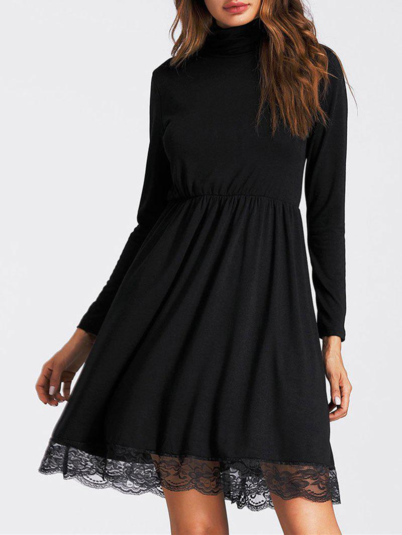 Online Lace Insert High Neck Mini A Line Dress