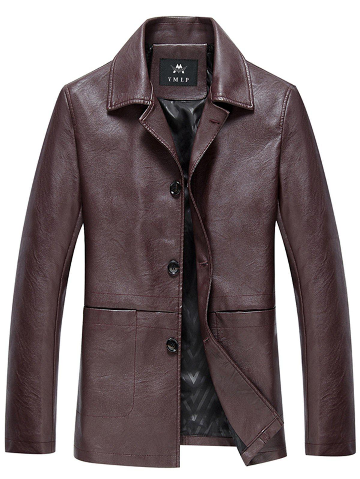 Shops PU Leather Single Breasted Jacket