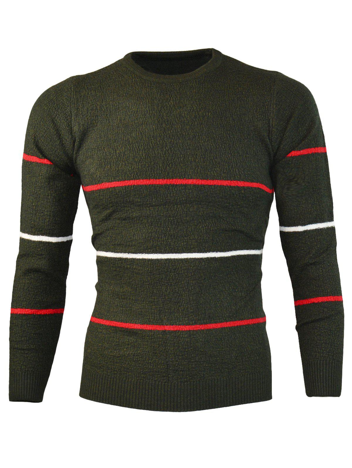 Sale Crew Neck Knitted Stripe Sweater