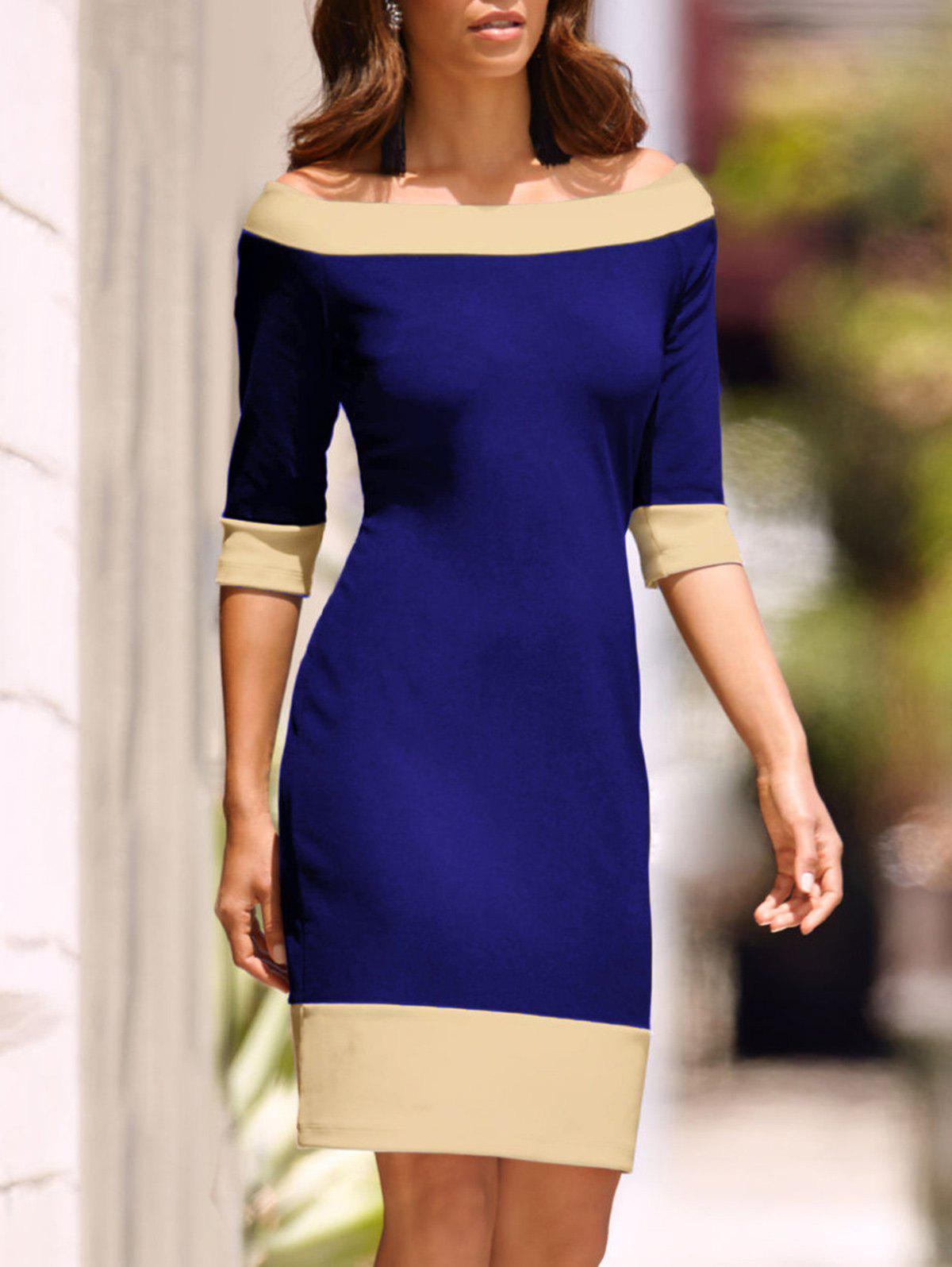 Shops Half Sleeve Two Tone Sheath Dress