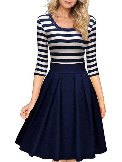 Fashion Scoop Neck Striped Fit and Flare Dress