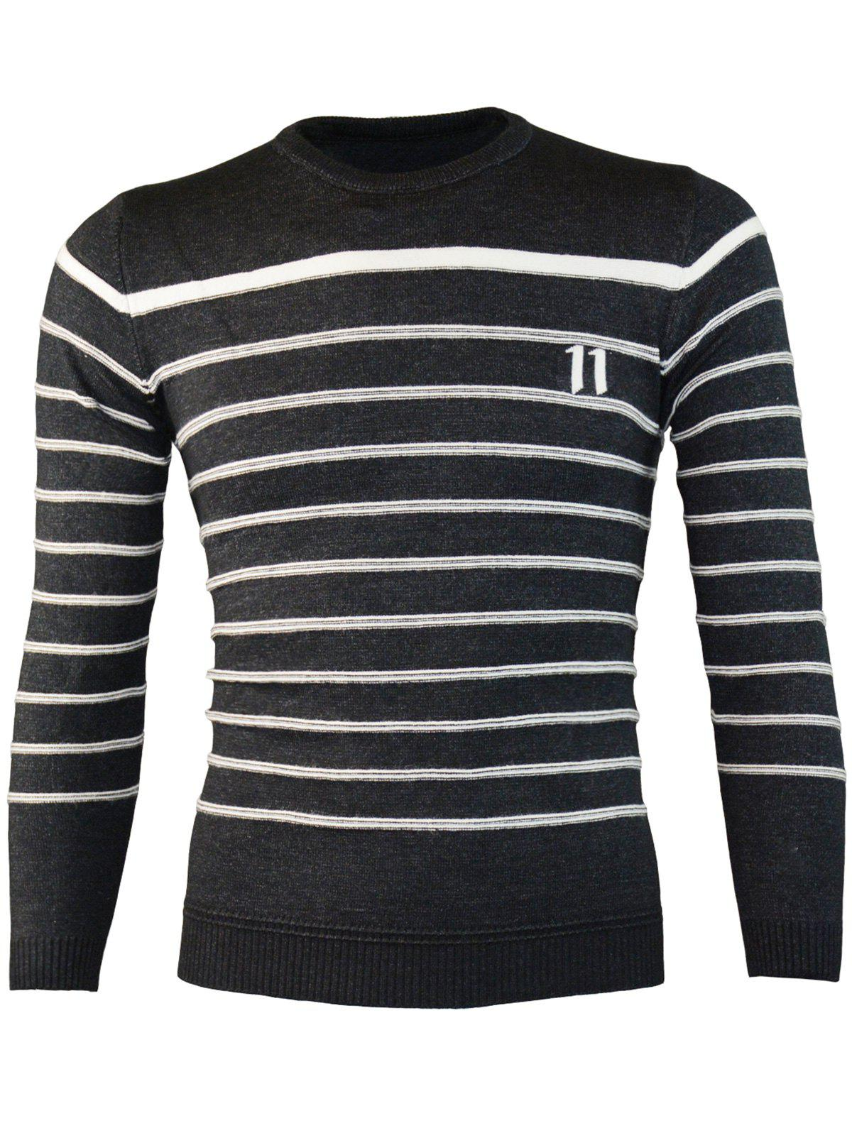 Affordable Number Jacquard Stripe Crew Neck Sweater