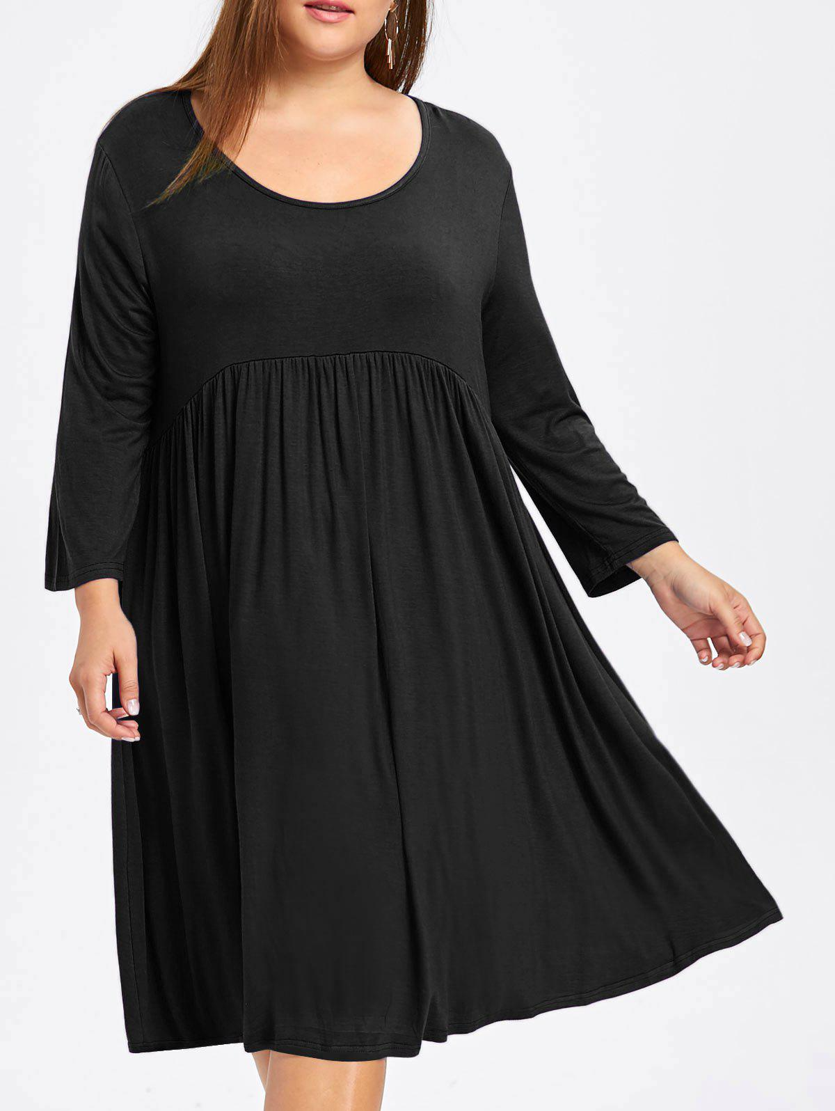 41affd7c56c3 32% OFF] Plus Size Empire Waist Smock Dress With Sleeves   Rosegal