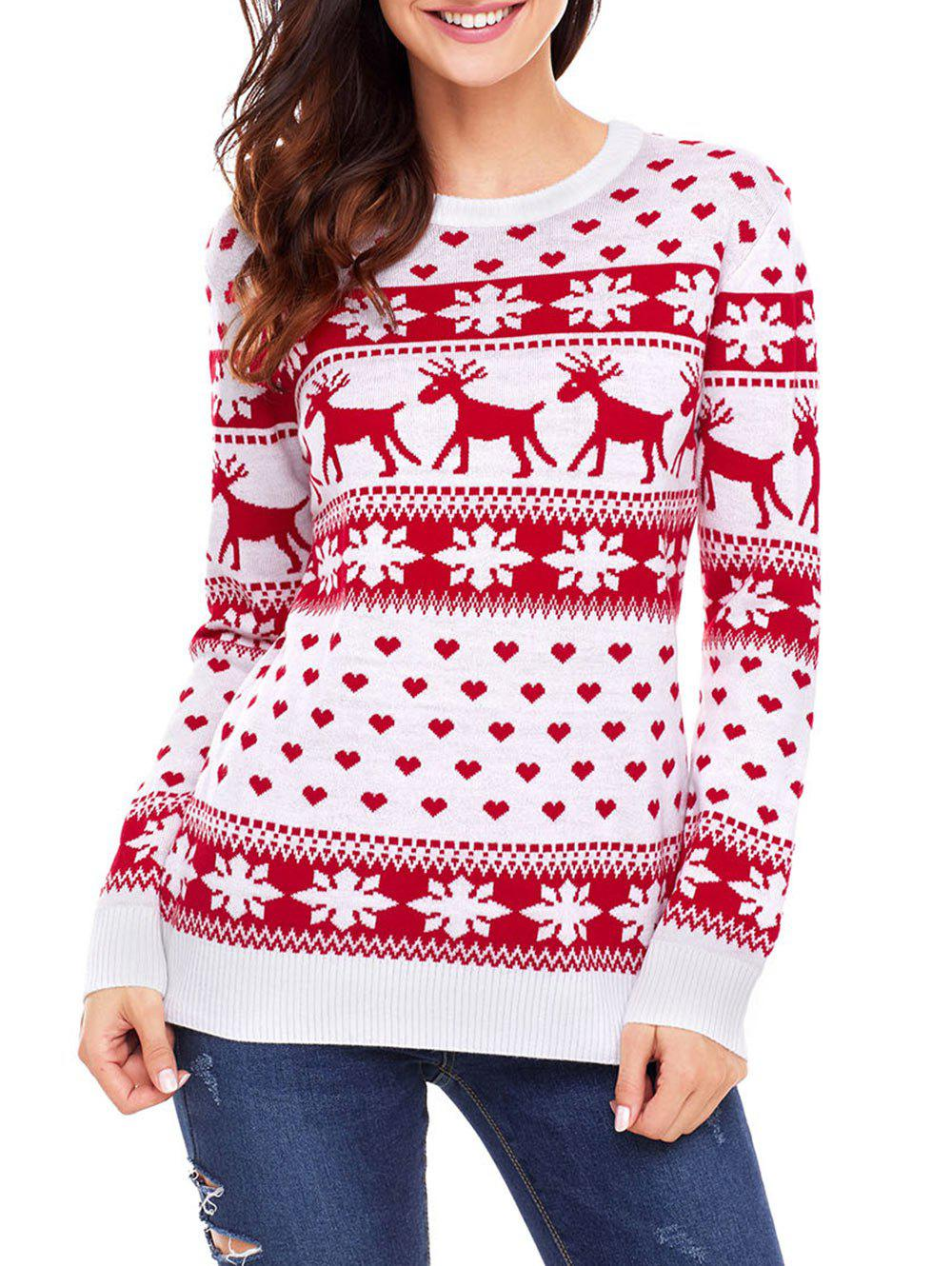 Chic Christmas Snowflake Deer Heart Jacquard Sweater