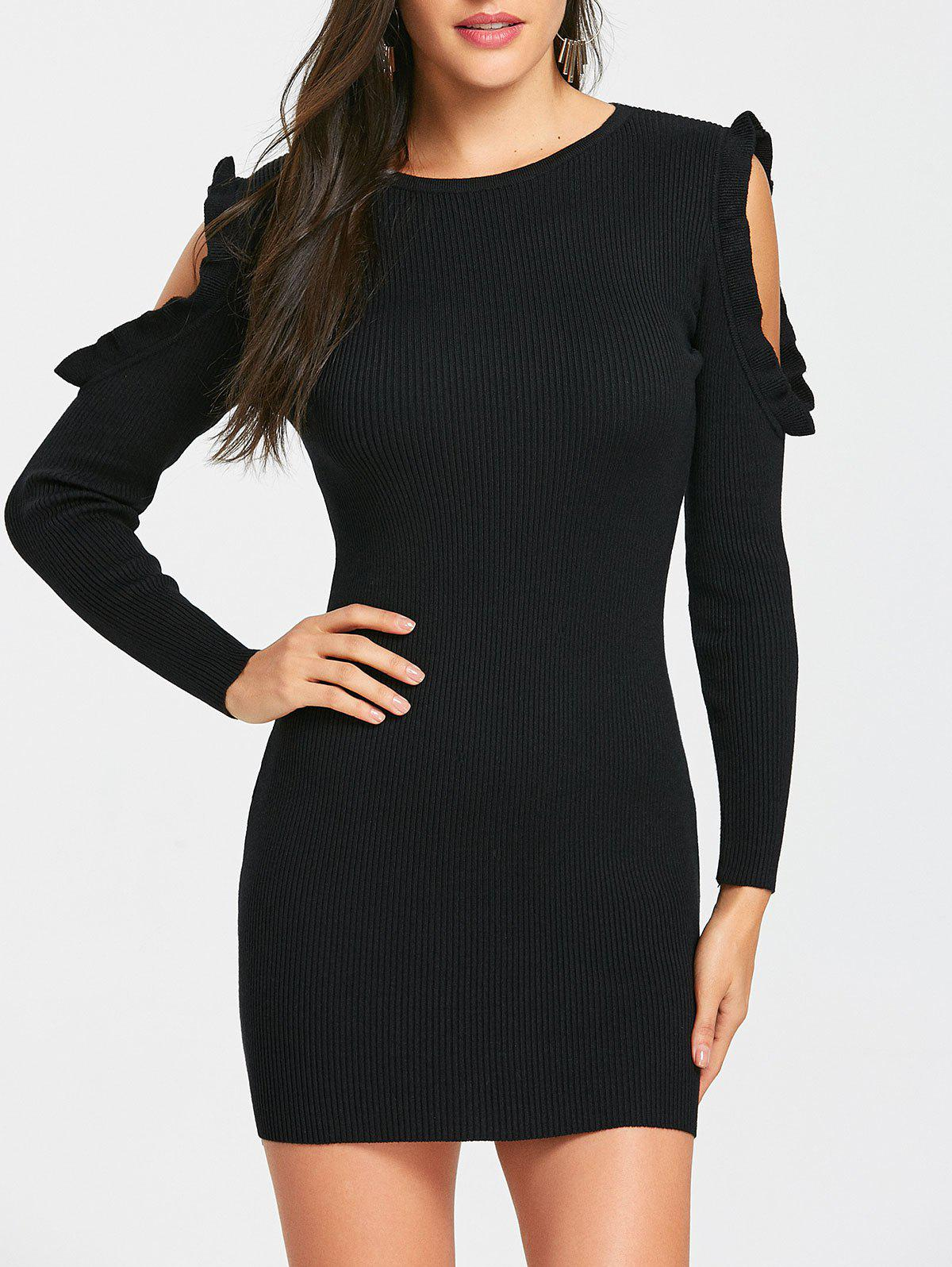 Fashion Ruffle Cold Shoulder Knitted Rib Bodycon Dress