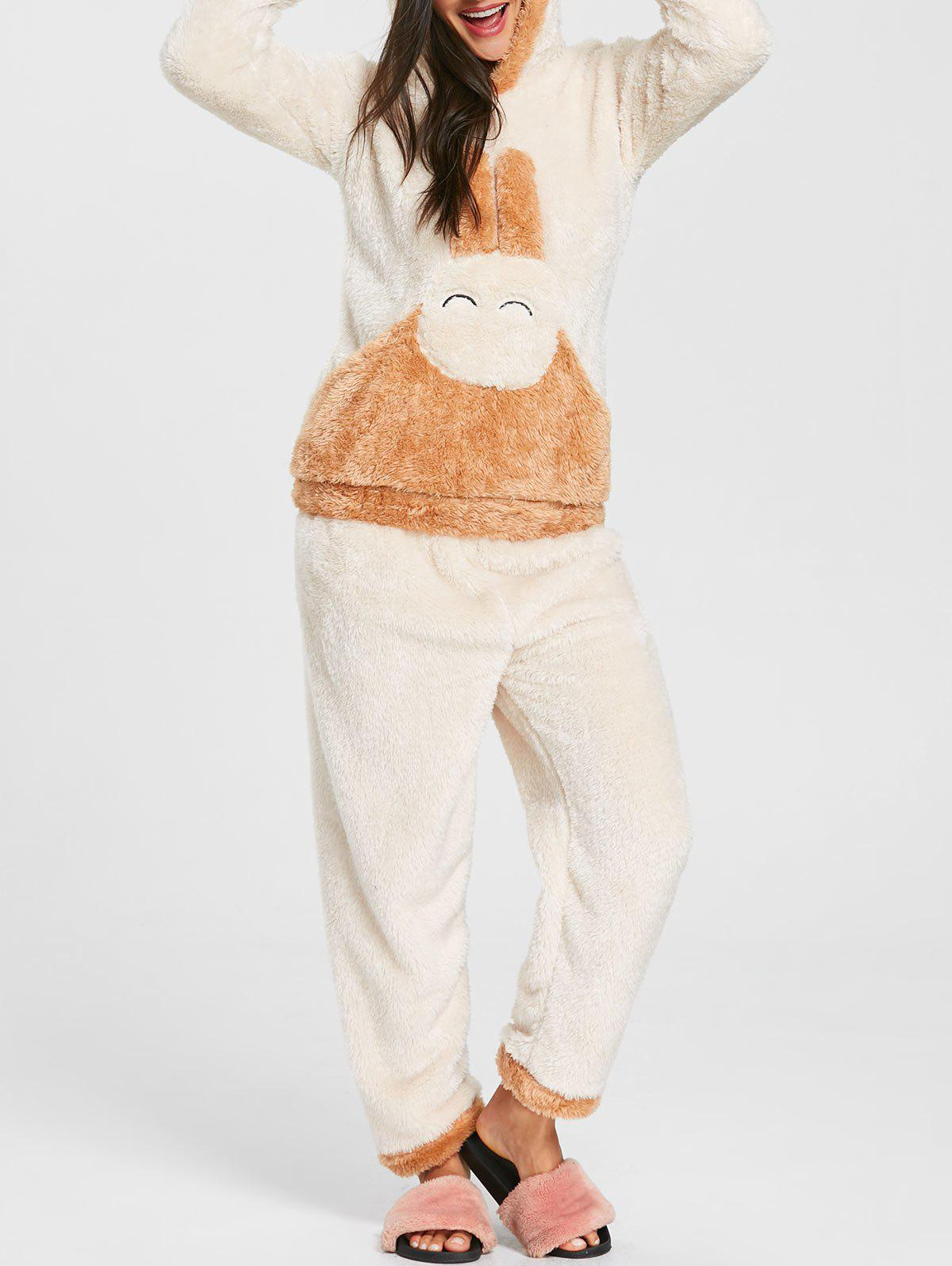Trendy Bunny Hooded Fuzzy Pajamas Set