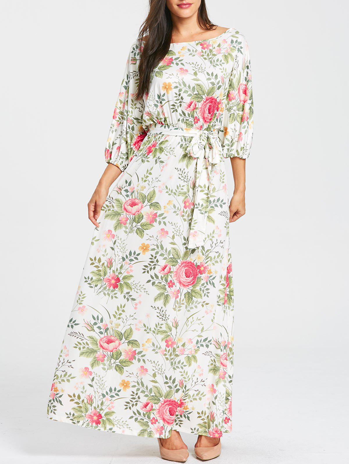 Discount Floral Print Batwing Sleeve Maxi Dress