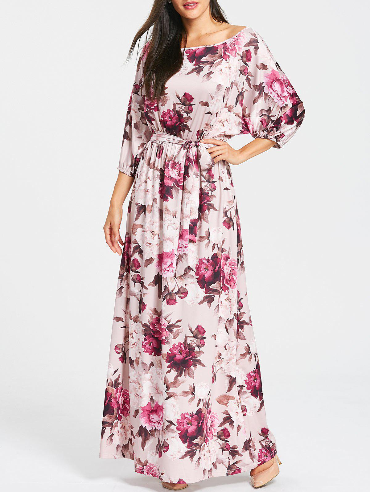 New Floral Print Batwing Sleeve Maxi Dress