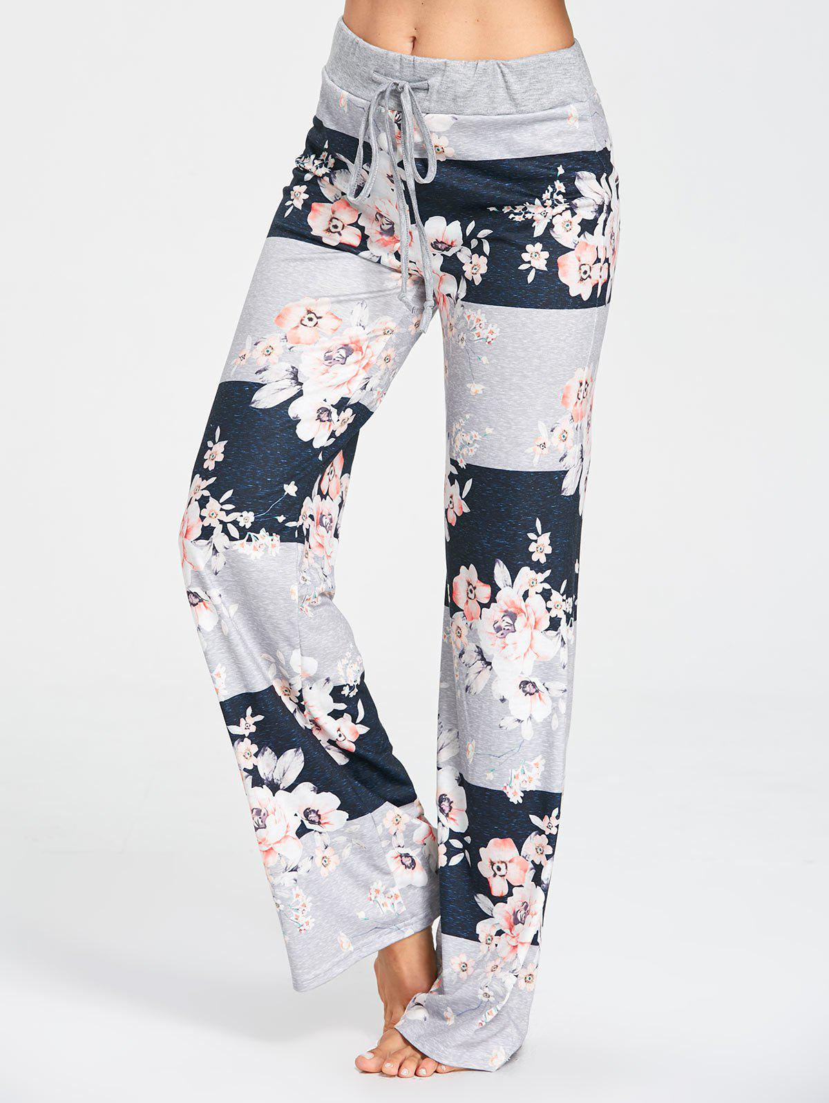 Hot Flower Pattern Drawstring Waist Pajama Pants