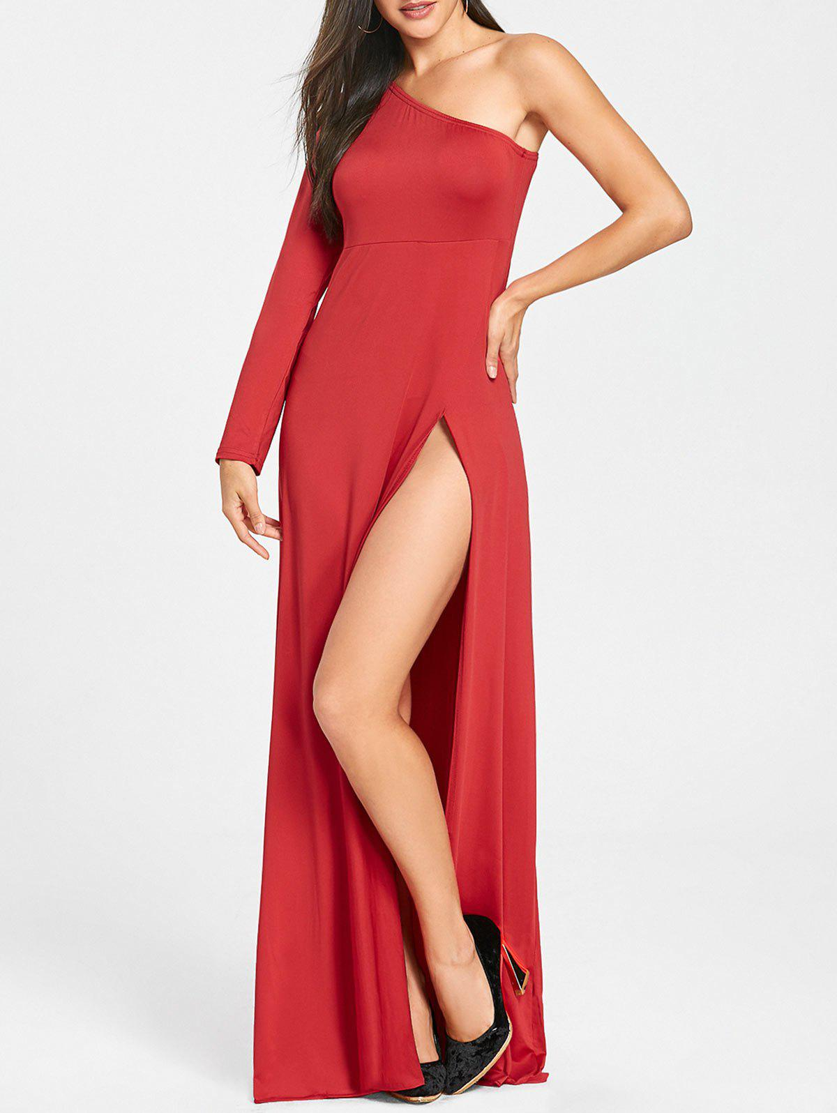 New One Shoulder Empire Waist High Slit Dress