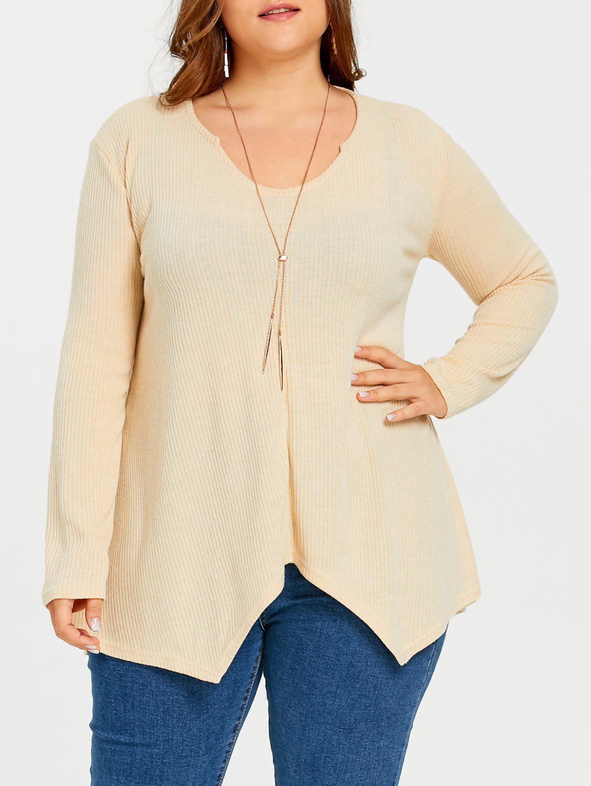 Best Plus Size Asymmetric Ribbed Tunic Sweater