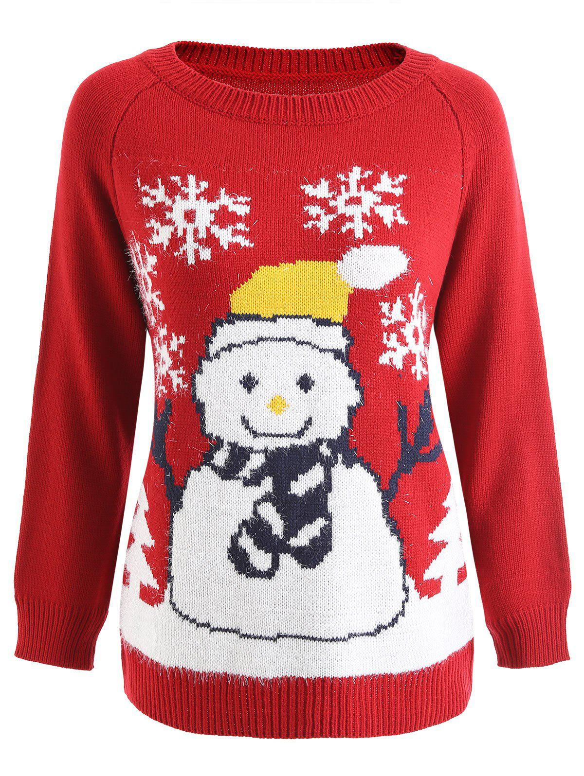 New Raglan Sleeve Snowman Graphic Christmas Sweater