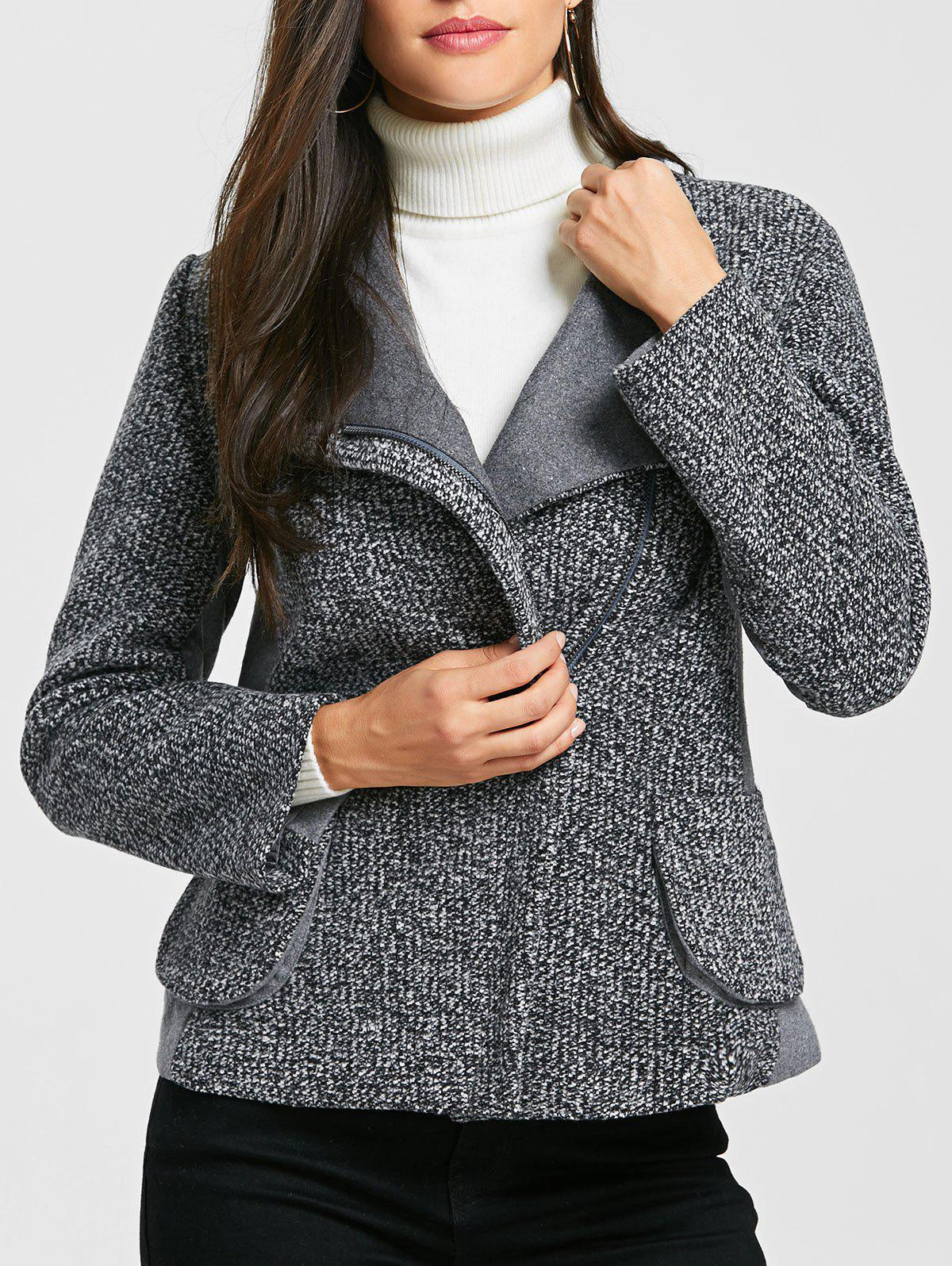 Discount Pockets Oblique Zipper Tweed Jacket