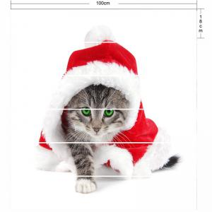 Cat Wearing Christmas Clothes Print Stair Stickers -
