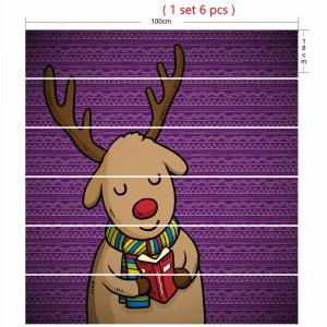 Cartoon Christmas Deer Printed Decorative Stair Stickers -