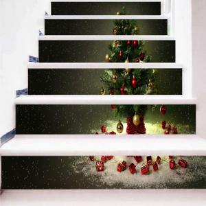 Christmas Tree Pattern Decorative Stair Stickers -
