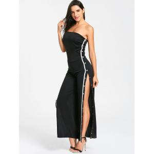 Buttons Strapless Slit Wide Leg Jupmsuit -