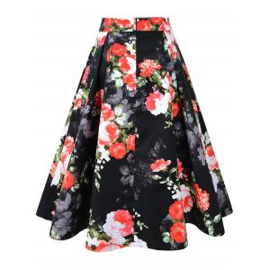 Pleated A-line Floral Vintage Skirt -