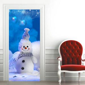 Cute Christmas Snowman Pattern Door Cover Stickers -