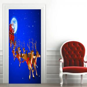 Moon Santa Sleigh Pattern Christmas Door Stickers -