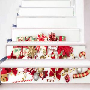 Christmas Elements Gift Print Decorative Stair Stickers -