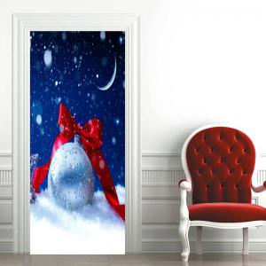 Noël Décoratif Bowknot Ball Imprimé Porte Art Stickers -