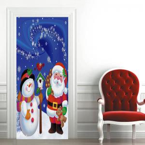 Christmas Snowman and Santa Claus Pattern Door Art Stickers -