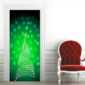 Shinning Christmas Tree Pattern Door Art Stickers -