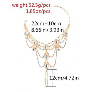 1PC Rhinestoned Teardrop frangé esclave cheville -