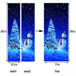 Christmas Tree Snowman Pattern Door Cover Stickers -